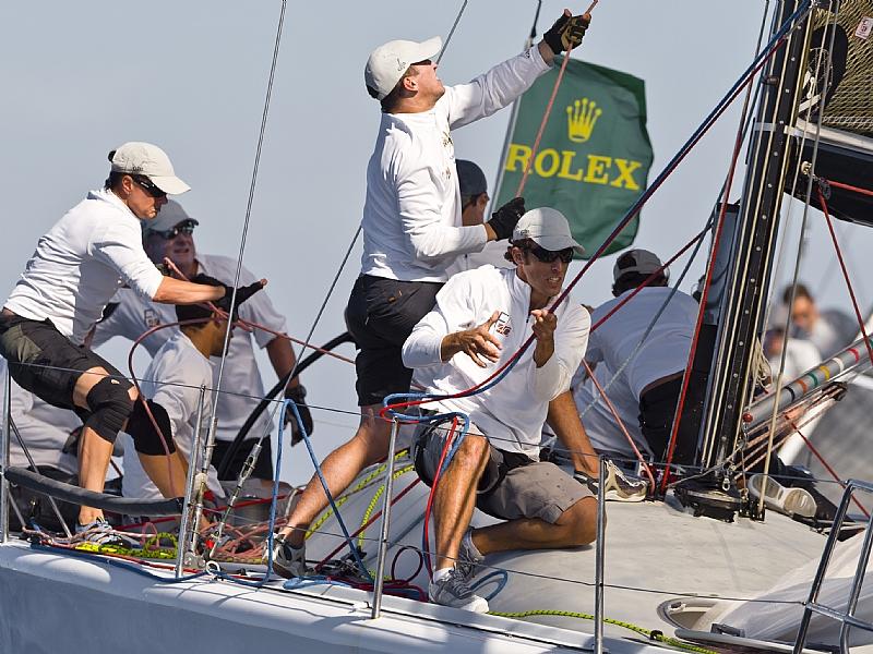 The Impi crew works hard during a kite hoist | photo Rolex / Kurt Arrigo